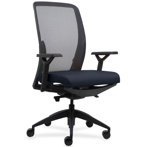 Lorell Made in America Executive Mesh Back/Fabric Seat Task Chair in Orange ; UPC: 035255831659 ; Angle View