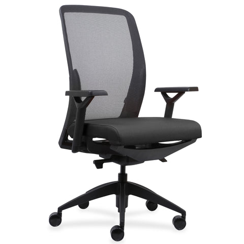 Lorell Made in America Executive Mesh Back/Fabric Seat Task Chair in Black ; UPC: 035255831048