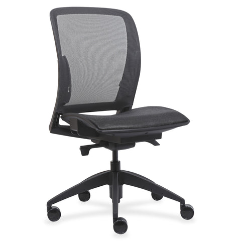 Lorell Made in America Mid-Back Chair w/Mesh Seat & Back in Black ; UPC: 035255830751 ; Angle View