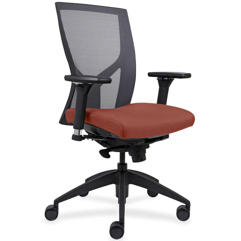 Lorell Made in America High-Back Mesh Chairs w/Fabric Seat in Orange ; UPC: 035255830751