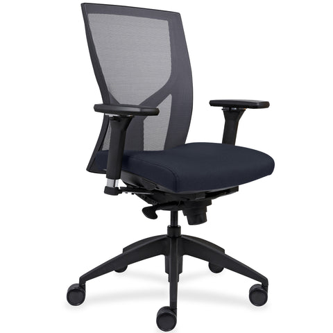 Lorell Made in America High-Back Mesh Chairs w/Fabric Seat in Dark Blue ; UPC: 035255830751 ; Angle View