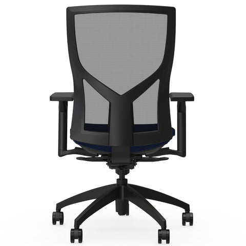 Lorell Made in America High-Back Mesh Chairs w/Fabric Seat in Dark Blue ; UPC: 035255830751 ; Back View