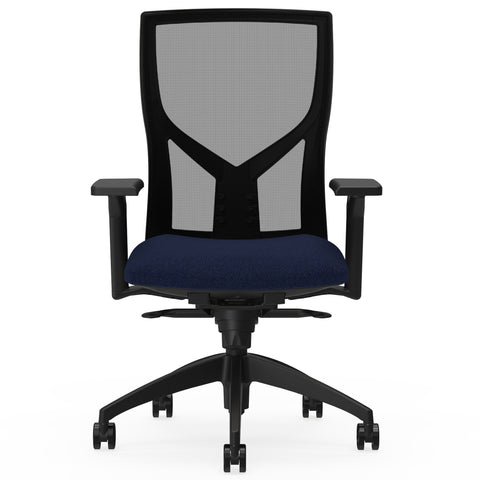 Lorell Made in America High-Back Mesh Chairs w/Fabric Seat in Dark Blue ; UPC: 035255830751 ; Front View