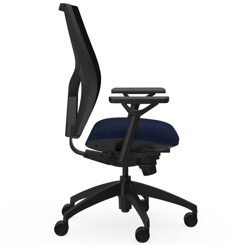 Lorell Made in America High-Back Mesh Chairs w/Fabric Seat in Dark Blue ; UPC: 035255830751 ; side view