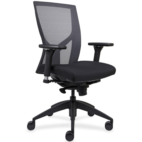 Lorell Made in America High-Back Mesh Chairs w/Fabric Seat in Black ; UPC: 035255830751