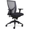 Lorell Made in America High-Back Mesh Chairs w/Fabric Seat in Black
