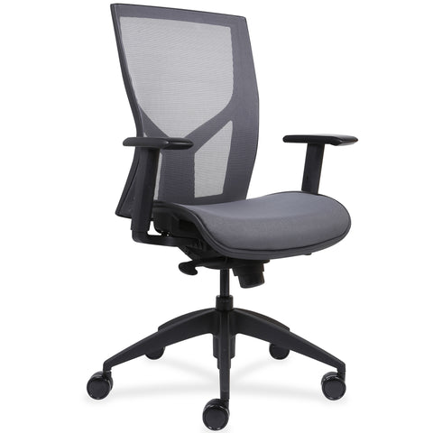 Lorell Made in America High-Back Chair w/Mesh Back & Seat in Black ; UPC: 035255830751 ; Angle View