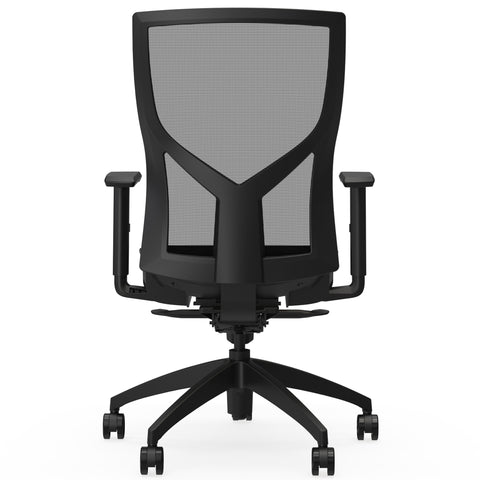 Lorell Made in America High-Back Chair w/Mesh Back & Seat in Black ; UPC: 035255830751 ; Back View