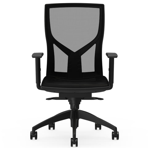 Lorell Made in America High-Back Chair w/Mesh Back & Seat in Black ; UPC: 035255830751 ; Front View