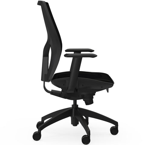 Lorell Made in America High-Back Chair w/Mesh Back & Seat in Black ; UPC: 035255830751 ; Side View