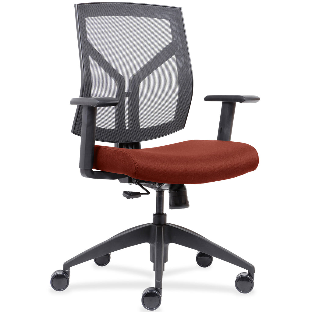 Lorell Made in America Mid-Back Chairs wth Mesh Back & Fabric Seat in Orange ; UPC: 035255830751