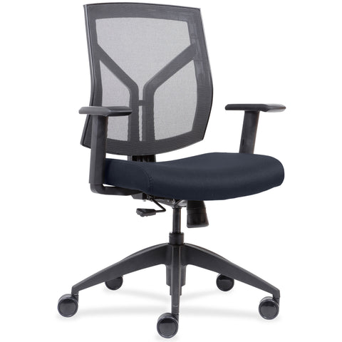 Lorell Made in America Mid-Back Chairs wth Mesh Back & Fabric Seat in Dark Blue ; UPC: 035255830751