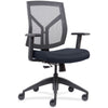 Lorell Made in America Mid-Back Chairs wth Mesh Back & Fabric Seat in Dark Blue