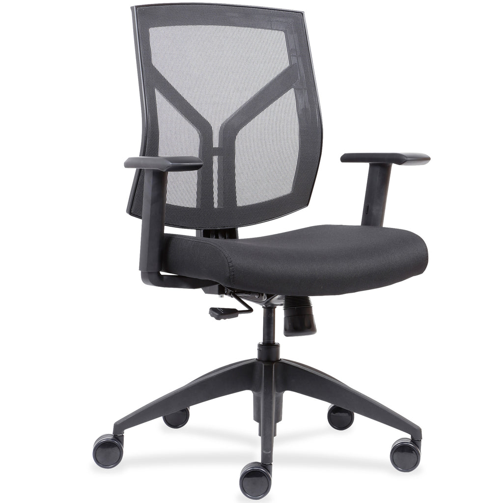 Lorell Made in America Mid-Back Chairs w/Mesh Back & Fabric Seat in Black ; UPC: 035255830751