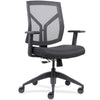 Lorell Made in America Mid-Back Chairs w/Mesh Back & Fabric Seat in Black