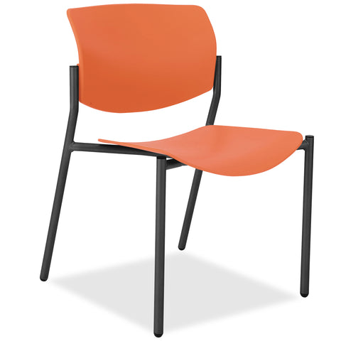 Lorell Made in America Stack Chairs w/Molded Plastic Seat & Back in Orange, 2/CT ; UPC: 035255830751