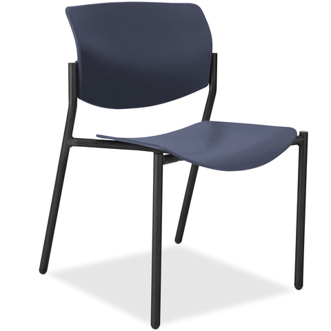 Lorell Made in America Stack Chairs w/Molded Plastic Seat & Back in Dark Blue, 2/CT ; UPC: 035255830751