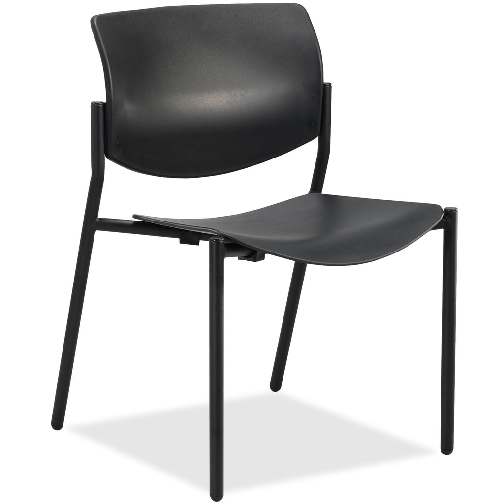Lorell Made in America Stack Chairs w/Molded Plastic Seat & Back in Black, 2/CT ; UPC: 035255830751