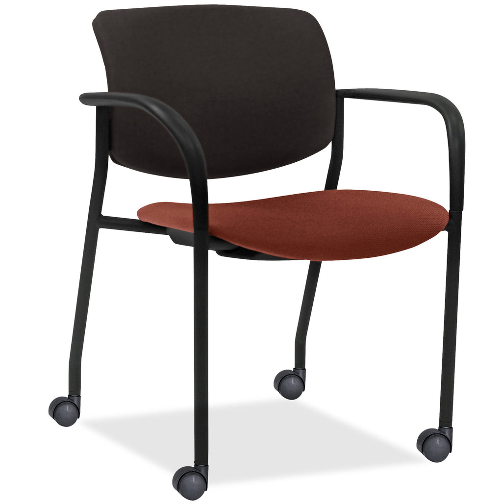 Lorell Made in America Stack Chairs w/Plastic Back & Fabric Seat in Orange, 2/CT ; UPC: 035255830751