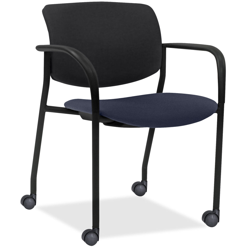 Lorell Made in America Stack Chairs w/Plastic Back & Fabric Seat in Dark Blue, 2/CT ; UPC: 035255830751