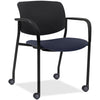 Lorell Made in America Stack Chairs w/Plastic Back & Fabric Seat in Dark Blue, 2/CT