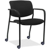 Lorell Made in America Stack Chairs w/Plastic Back & Fabric Seat in Black, 2/CT