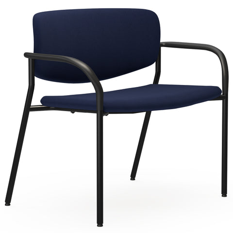 Lorell Made in America Bariatric Guest Chairs w/Fabric Seat & Back in Dark Blue ; UPC: 035255830751 ; Angle View