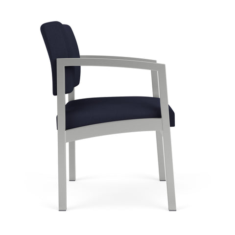 Lesro Lenox Steel Guest Chair in Solid Fabric, Open House Navy