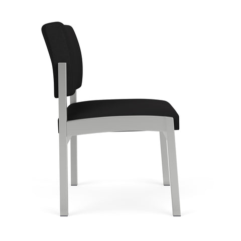 Lesro Lenox Steel Armless Guest Chair in Solid Fabric, Open House Black