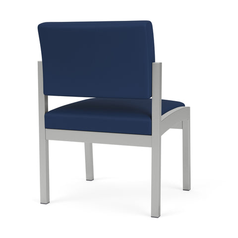 Lesro Lenox Steel Armless Guest Chair in Wipe-Clean Urethane, Dillon Ocean