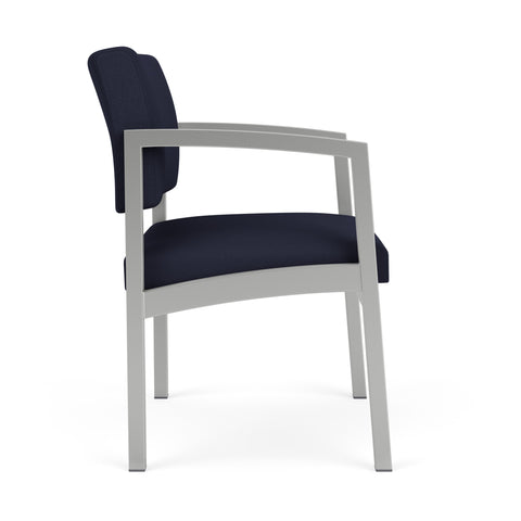 Lesro Lenox Steel Oversize Guest Chair in Solid Fabric, Open House Navy