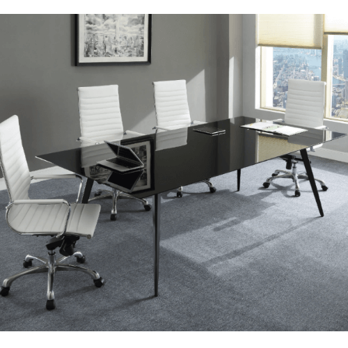 Lorell Black Glass Conference Table Top shown in setting; UPC: 035255596299