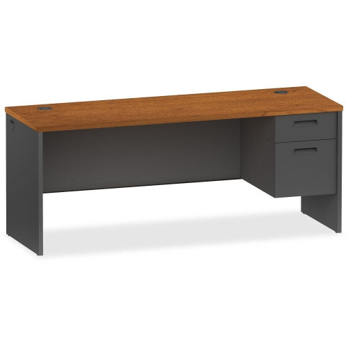 Lorell Cherry/Charcoal Pedestal Credenza LLR97122, Cherry (UPC:035255971225)