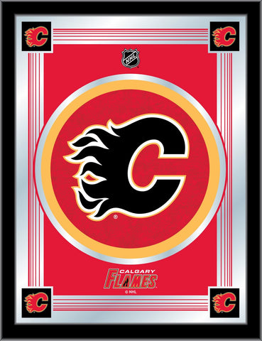 Calgary Flames 17 x 22 Logo Mirror by Holland Bar Stool Company; UPC: 071235381301