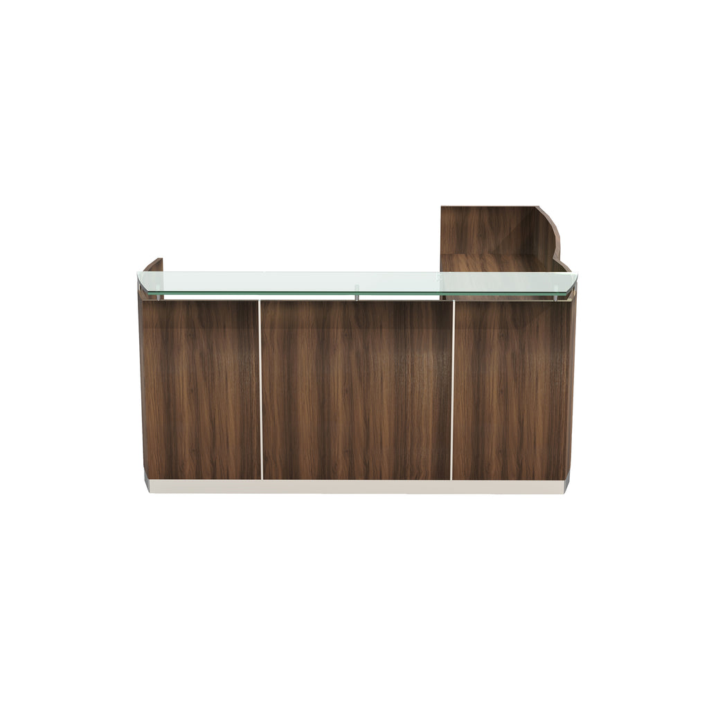 Safco Products Medina Reception Station with Return, 2 B/B/F Pedestals MNRSLBBTBS(Image 2)