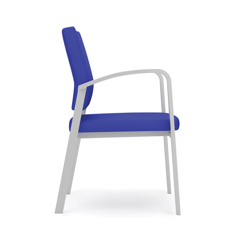 Lesro Newport Series Guest Chair in Blue Fabric, Steel Frame ; Profile View