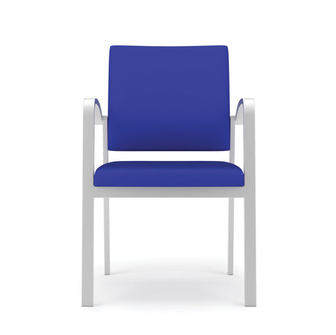 Lesro Newport Series Guest Chair in Blue Fabric, Steel Frame ; Front View