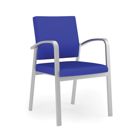 Lesro Newport Series Guest Chair in Blue Fabric, Steel Frame ; Front Angled View