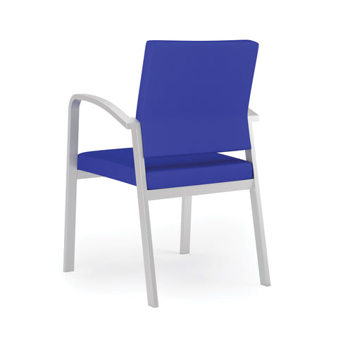 Lesro Newport Series Guest Chair in Blue Fabric, Steel Frame ; Back Angled View