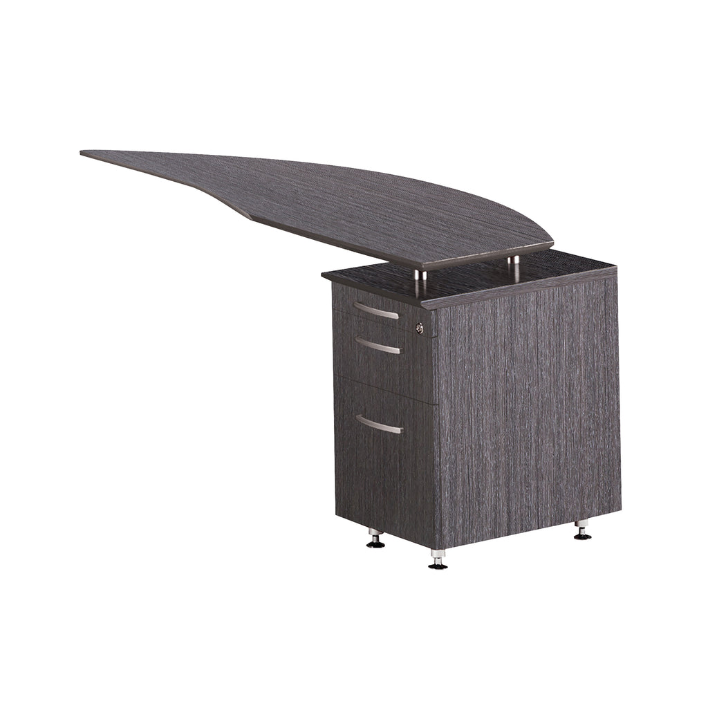 Safco Products Napoli Curved Desk Right Return, P/B/F Pedestal NRTPRCGR(Image 2)