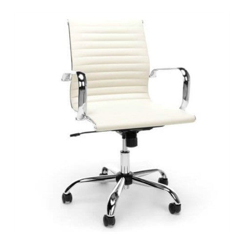 Essentials by OFM Ribbed Leather Conference Chair in Ivory ; UPC: 845123089255