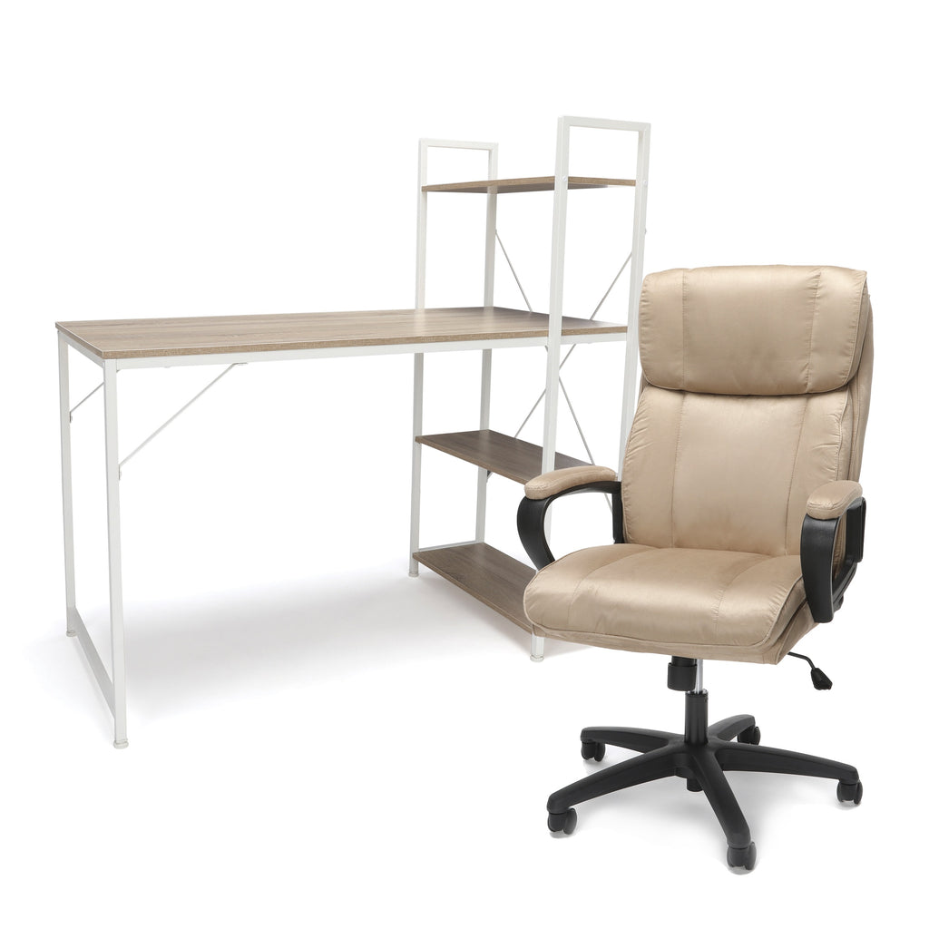 OFM Office Furniture Bundle, Essentials Collection Desk with 4 Shelf Unit and Essentials Collection Plush High-Back Microfiber Office Chair Bundle, in White/Natural and Tan
