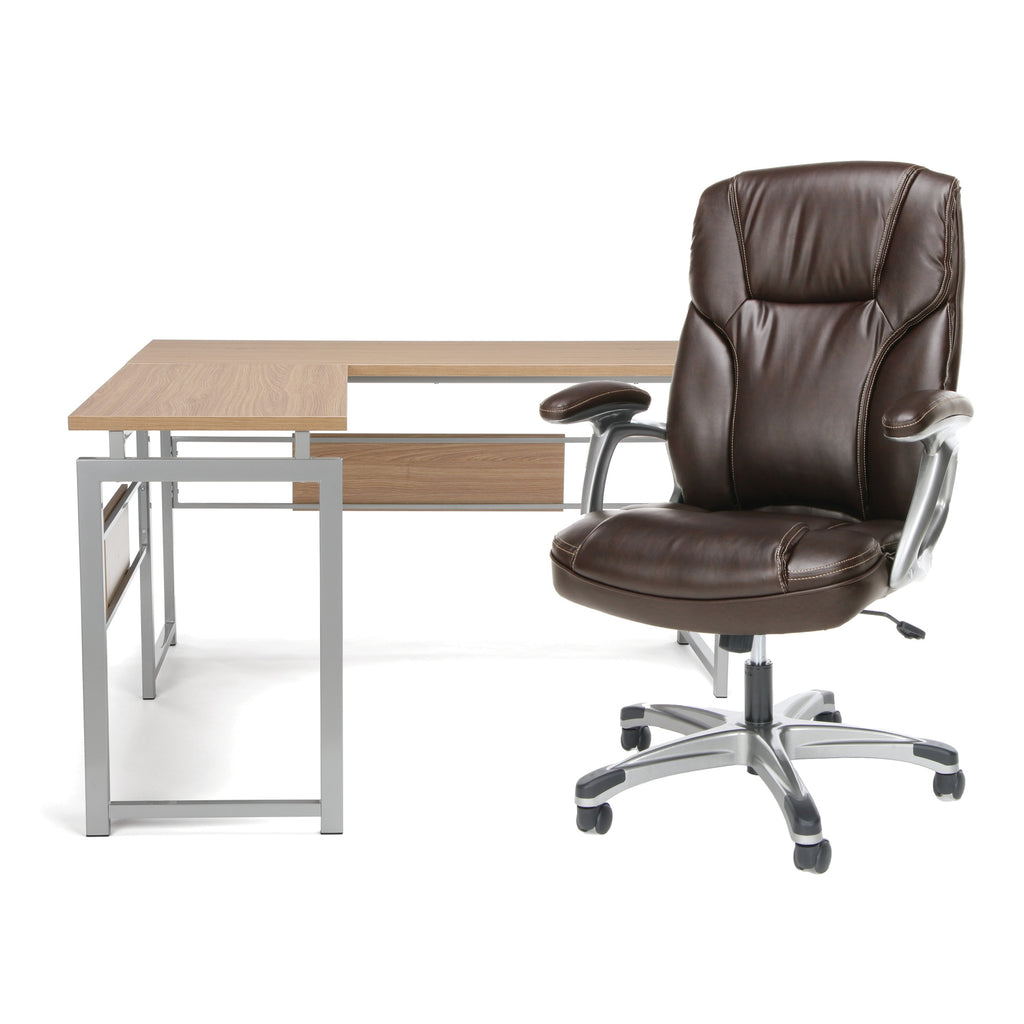 Sensational Ofm Office Furniture Bundle Essentials Collection L Shaped Desk With Metal Legs And Essentials Collection Ergonomic High Back Bonded Leather Home Interior And Landscaping Ologienasavecom