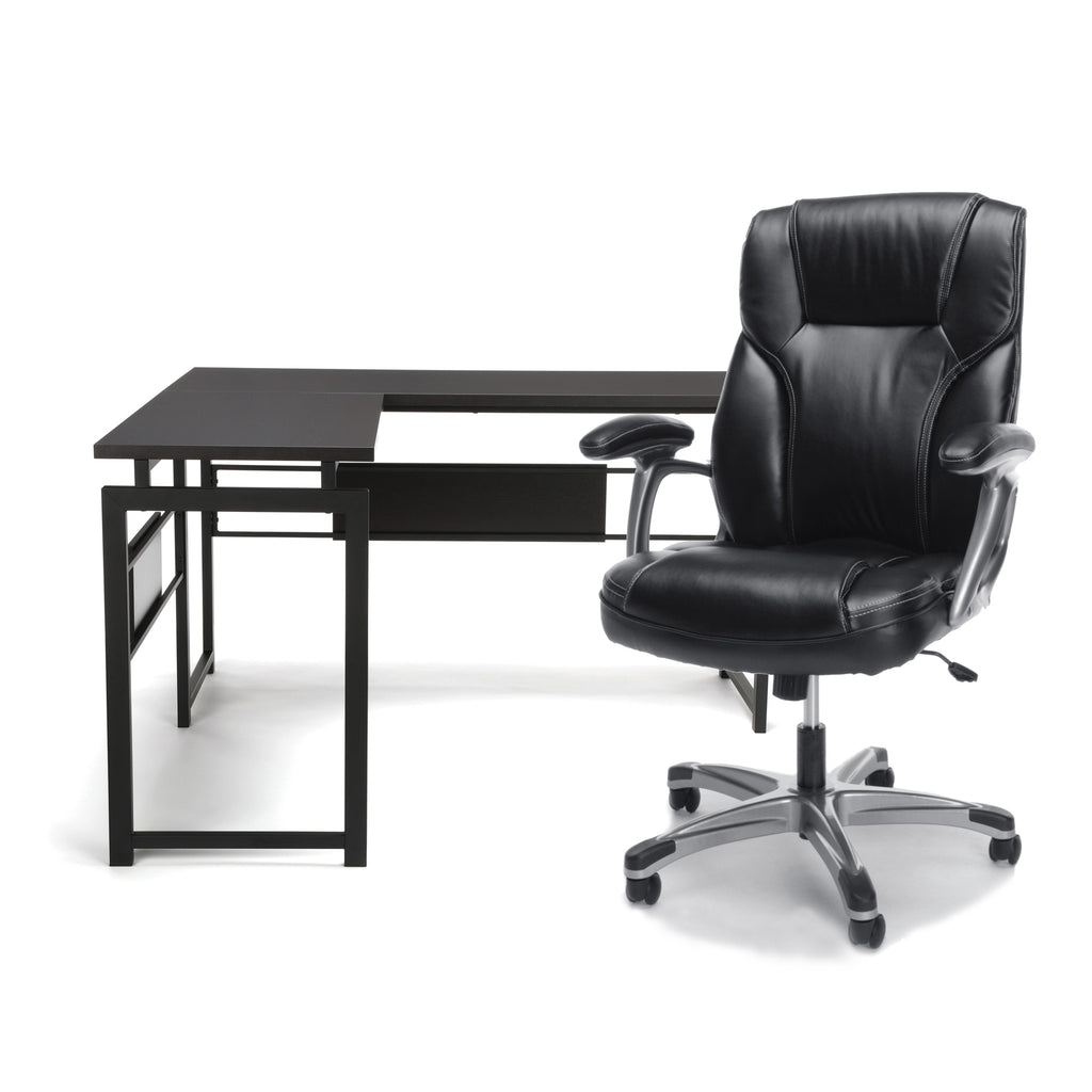 Magnificent Ofm Office Furniture Bundle Essentials Collection L Shaped Desk With Metal Legs And Essentials Collection Ergonomic High Back Bonded Leather Home Interior And Landscaping Ologienasavecom