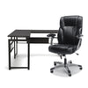 OFM Office Furniture Bundle, Essentials Collection L-Shaped Desk with Metal Legs and Essentials Collection Ergonomic High-Back Bonded Leather Executive Chair, in Espresso/Black and Black
