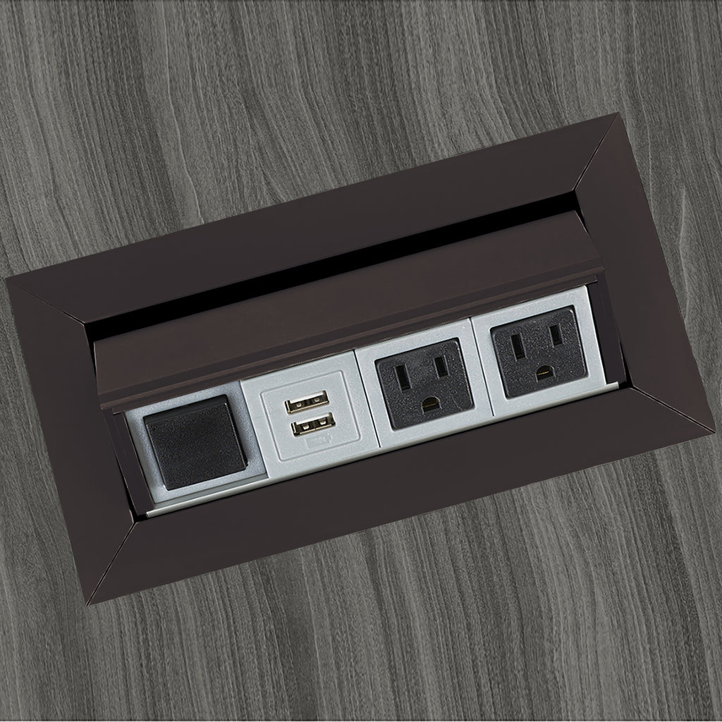 Safco Products Power Module with 2 Power and 2 USB Outlets PM33BLK(Image 1)