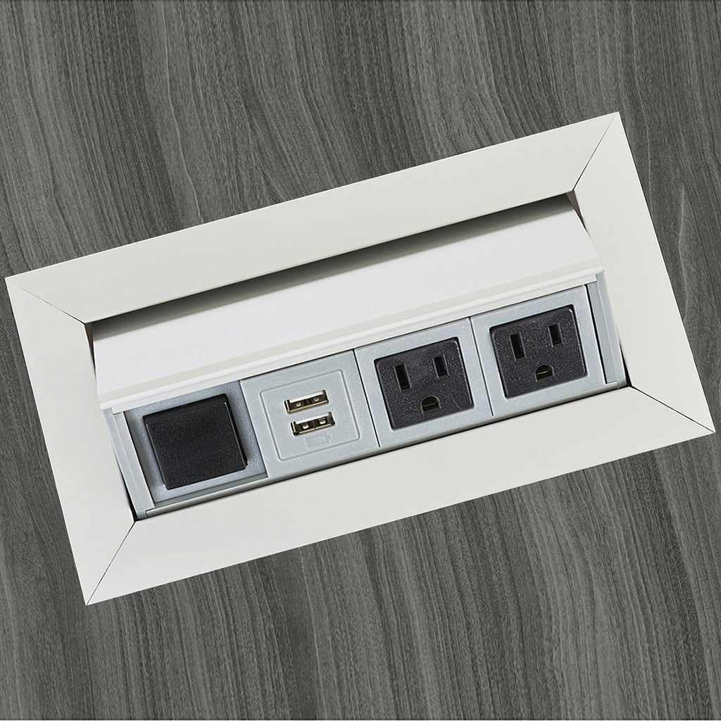 Safco Products Power Module with 2 Power and 2 USB Outlets PM33SLV(Image 1)