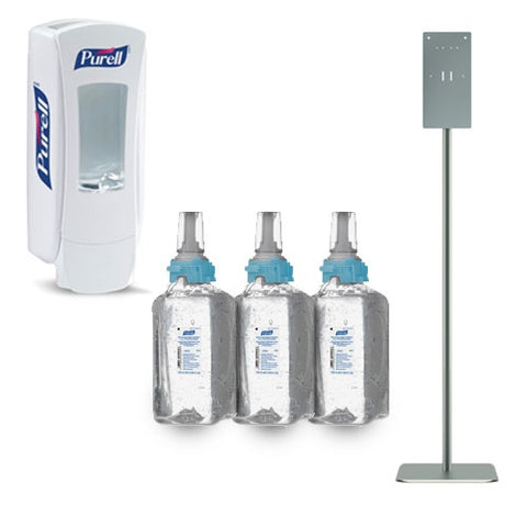 Purell Gel Hand Sanitizer Refill Carton with Push Dispenser and HON Dispensing Station