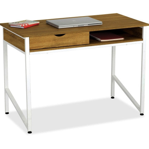 Safco Single Drawer Office Desks ; Laminate/White Frame ; (073555195095)