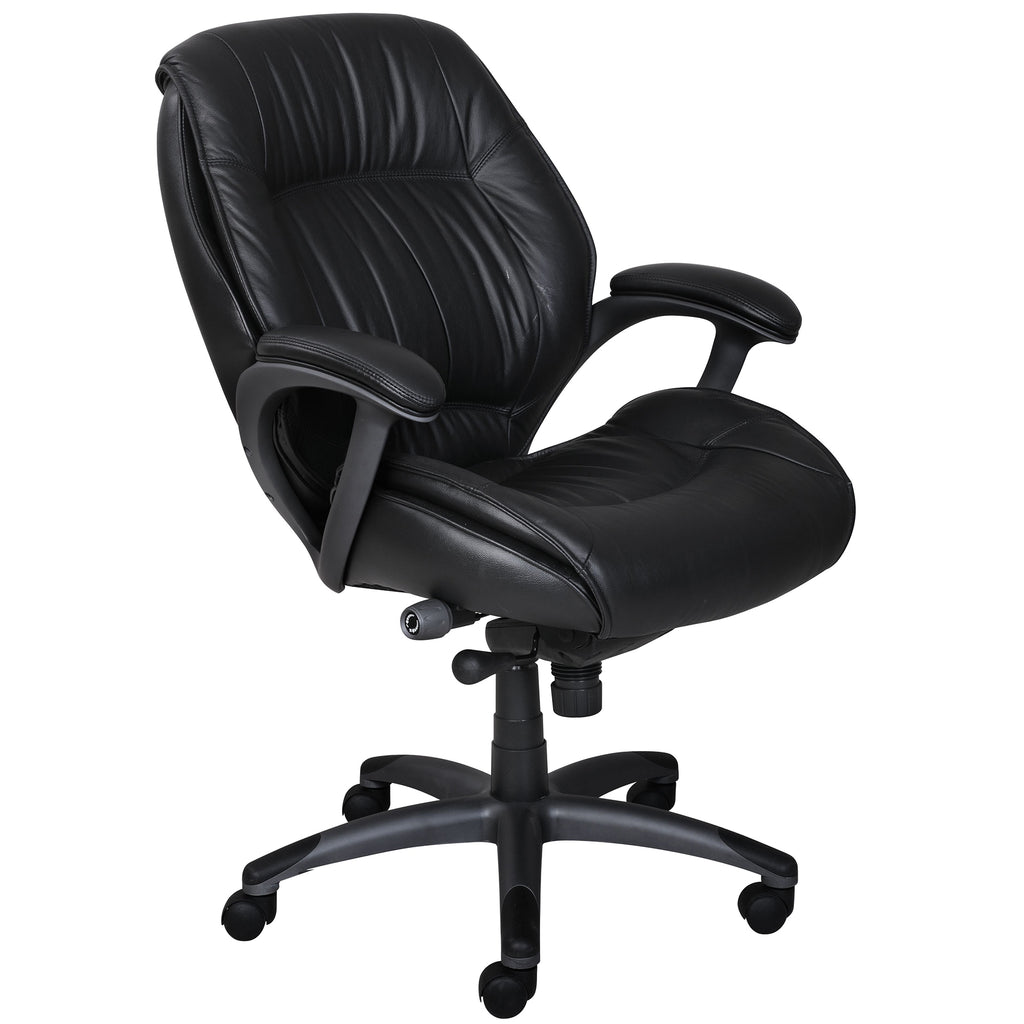 Safco Products Ultimo 100 Series Mid-Back Leather Chair ULMGRBLK(Image 2)